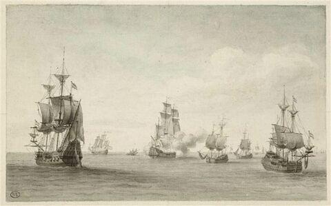 Jean Bart dans la Baltique, à la fin de 1675, attaque une flotte Hollandais