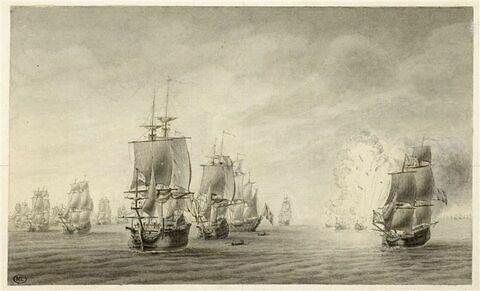 Jean Bart chassé par treize vaisseaux ennemis