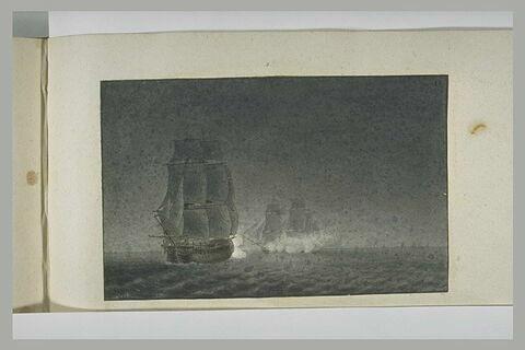 Première position d'un combat du Guillaume Tell à la sortie de Malte, 1800
