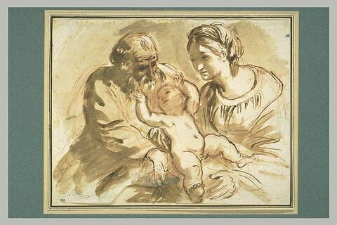Sainte Famille avec saint Joseph jouant avec l'Enfant