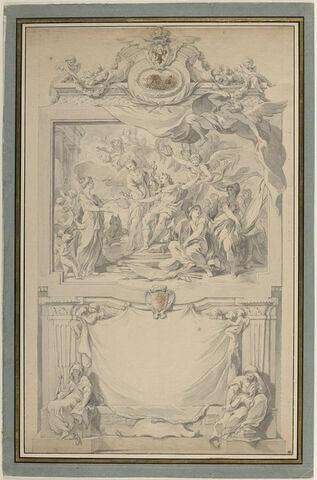 Frontispice. Louis XV donnant la Paix à l'Europe