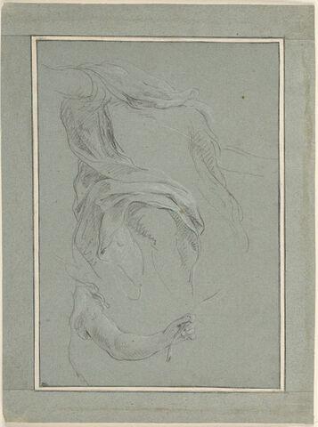 Etude de draperie, et d'un bras tenant une palme