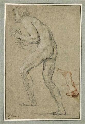 Homme nu, marchant vers la gauche et vu de profil