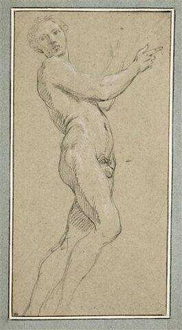 Homme debout, tourné vers la droite, la tête vue de face : saint Sulpice