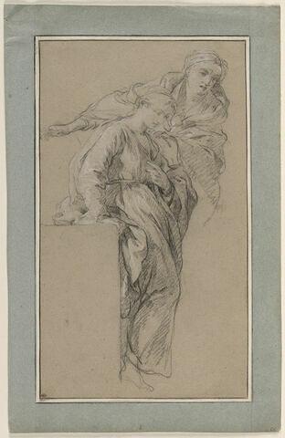 Etude de deux figures de femmes drapées