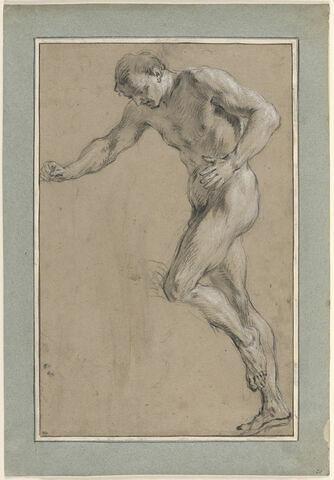 Homme nu, debout, tourné vers la gauche et regardant à terre