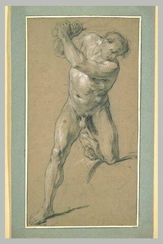 Homme armé d'une massue, un genou sur une pierre