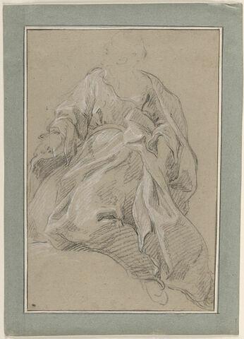 Etude de draperie pour une figure assise, de face