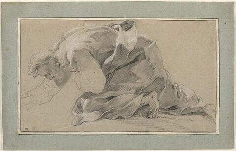 Vieillard drapé, à genoux, tourné vers la gauche