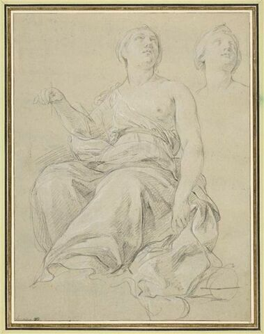 Femme drapée, assise, levant la tête, et reprise de la tête