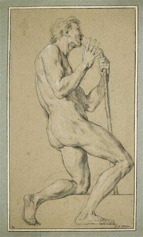 Homme nu, agenouillé, tourné vers la droite