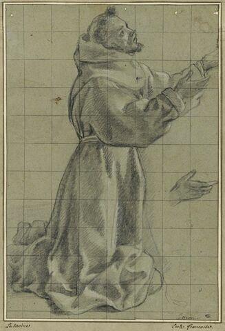 Saint François à genoux tourné à droite et étude d'une main
