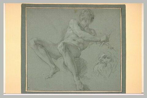 Homme nu, assis, tenant un bâton ; reprise de la tête avec barbe