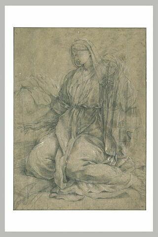 Femme drapée agenouillée, tournée à gauche