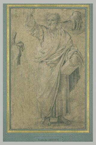 Saint Paul prêchant et étude séparée de ses deux mains