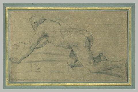 Homme nu agenouillé, tourné vers la gauche