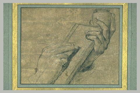 Etude des deux mains d'un homme écrivant
