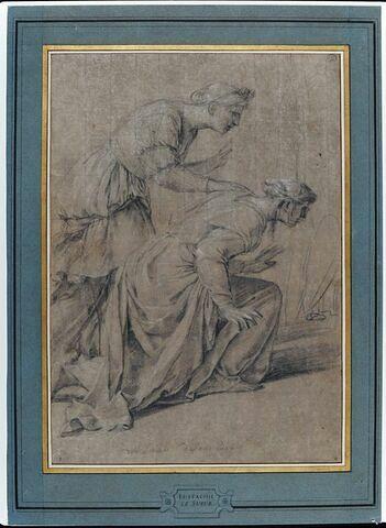 Deux femmes drapées, vues de profil, penchées en avant