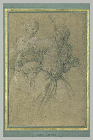 Homme debout, un bâton sur l'épaule, donnant la main à une femme