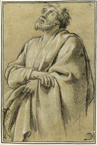Un homme, les bras croisés, les yeux levés : étude pour le premier tableau