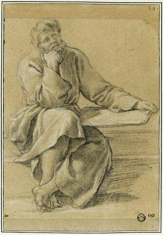 Un vieillard assis, accoudé, avec un livre : étude pour le cinquième tableau