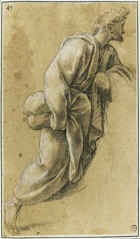 Un homme montant, les marches d'un autel : étude pour le neuvième tableau
