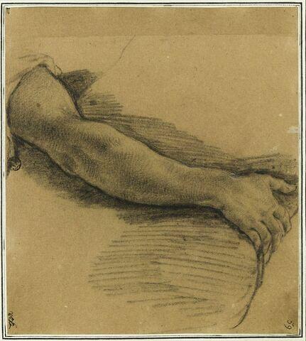 Etude d'un bras : étude pour le dixième tableau de la vie de saint Bruno