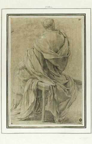 Un homme, drapé, assis, vu de dos : étude pour le trezième tableau