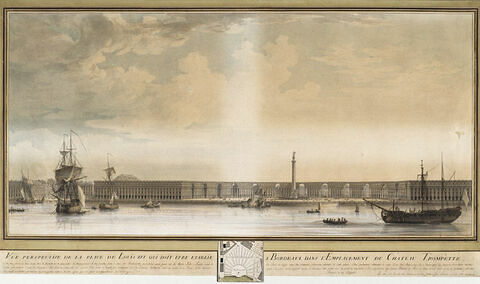 Vue perspective de la place Louis XVI, qui devait être établie à Bordeaux