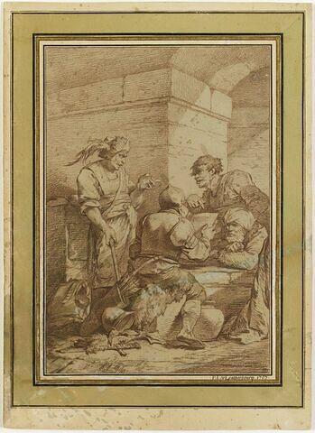 Trois soldats écoutant une lecture, faite par un quatrième soldat