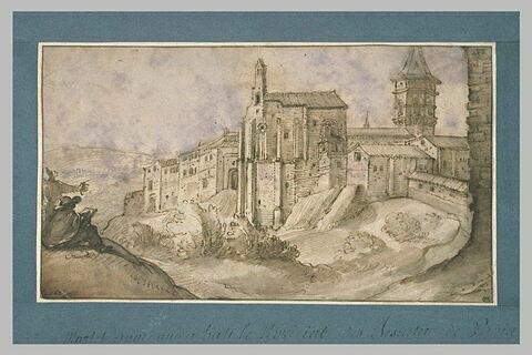 Deux hommes devant un chateau fortifié dans un paysage