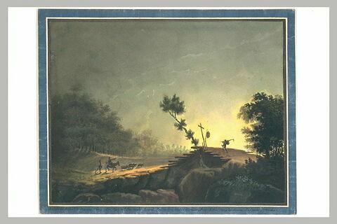 Paysage éclairé par le soleil couchant