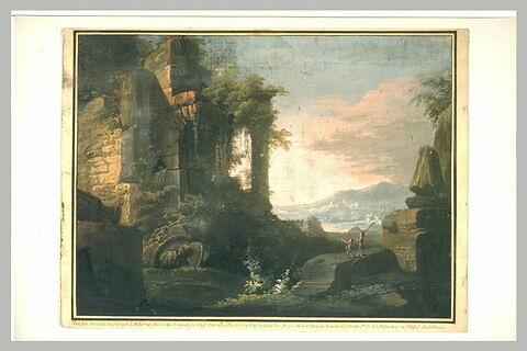 Vue des ruines du temple d'Athènes