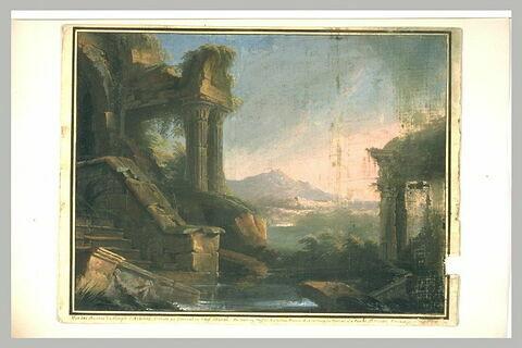 Vue d'une partie des ruines du temple d'Athènes