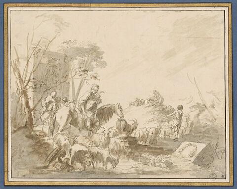 Pastorale avec ruines et animaux