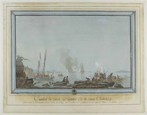 Combat de deux frégates et de chébec ; fête donnée à Monsieur en 1777