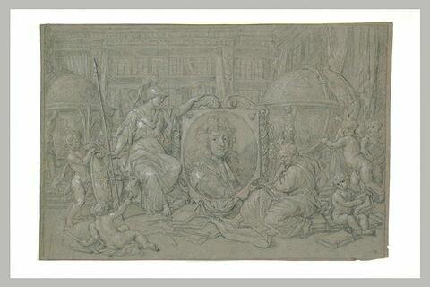 Portrait allégorique de Louis XIV protecteur des sciences, des lettres et des arts