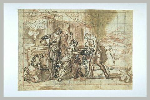 Faustulus apportant à sa femme Romulus et Rémus