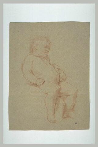 Enfant nu, assis et endormi