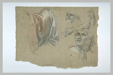 Etudes d'une draperie, de deux têtes et de trois mains