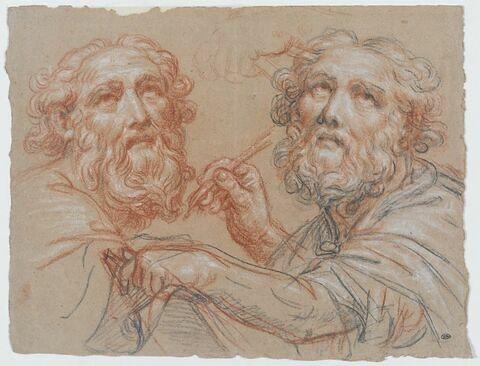 Deux études pour un vieillard, écrivant, les yeux au ciel