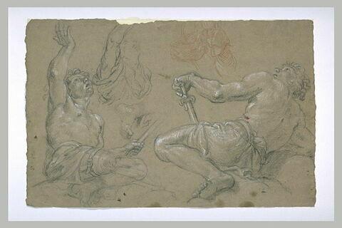 Etude de deux guerriers, à demi nus, assis, regardant en haut