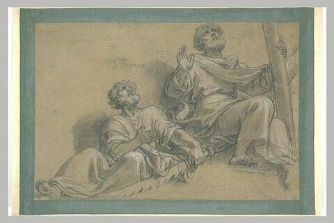 Etude des figures de saint Simon et de saint André assis et en extase