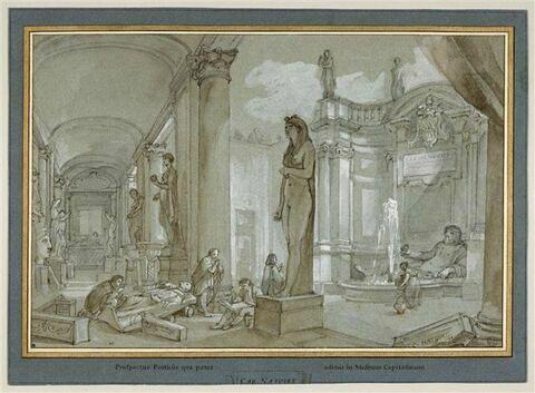 Artistes dessinant dans la cour intérieure du Musée du Capitole à Rome