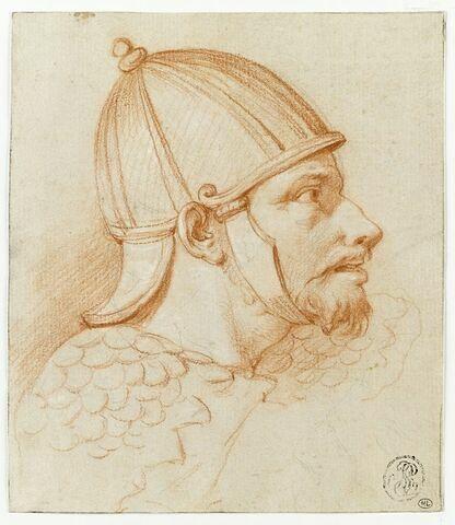 Tête d'homme casqué, vue de profil vers la droite