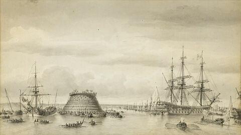 Mise en place du cône de la digue de Cherbourg