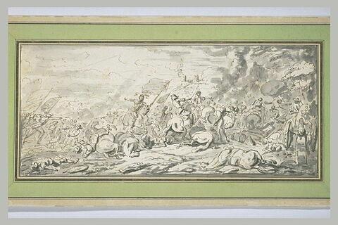 Combat de cavaliers et de fantassins, avec à droite une pièce d'artillerie