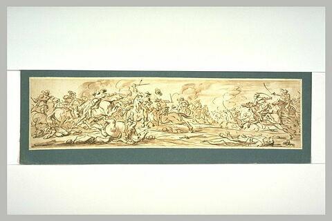 Combat de cavaliers ; au premier plan à droite, un homme allongé...