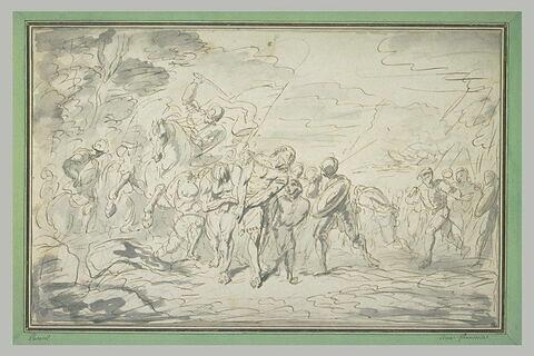 Soldats et cavaliers conduisant des prisonniers