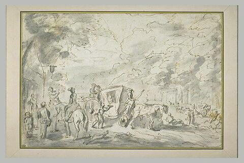 Carrosses et cavaliers sur une large route, devant une auberge